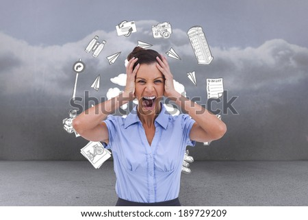 Stressed businessswoman with hand on her head against clouds in a room - stock photo