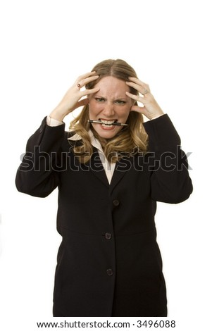 Stressed businesswoman isolated on a white background - stock photo
