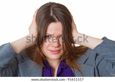 Stressed businesswoman - isolated on white background - stock photo