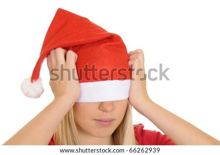 stressed christmas girl - stock photo