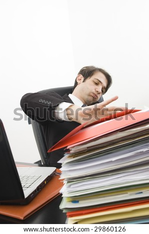 stressed clerk in office - stock photo