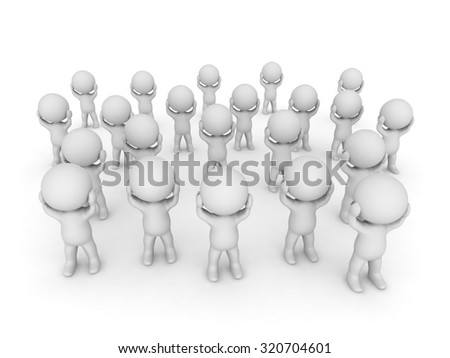Stressed 3D characters. Isolated on white background.  - stock photo