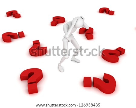 Stressed 3d man amongst red question marks on white background - stock photo