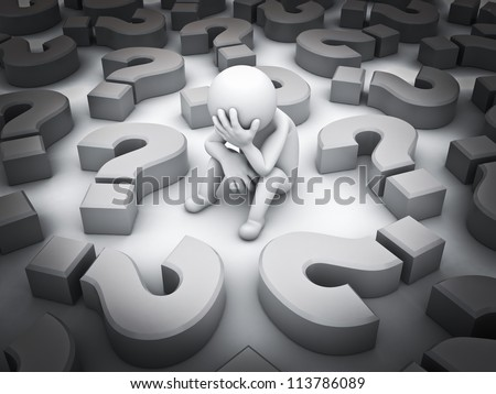 Stressed 3d man sitting amongst question marks on white background , Tough times concept - stock photo