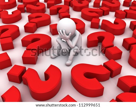 Stressed 3d man sitting amongst red question marks on white background , Too many problems concept - stock photo
