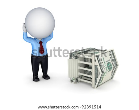 Stressed 3d small person and court made of money.Isolated on white background.
