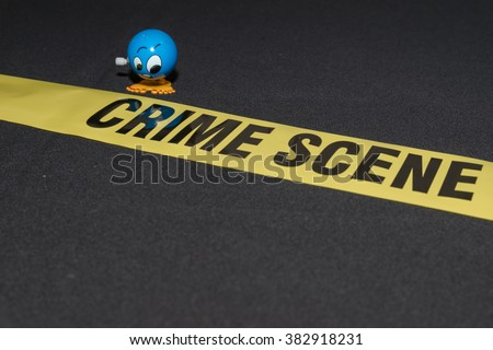 Stressed eyewitness on crime scene marked with do not cross yellow warning sign