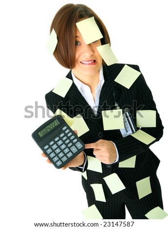 stressed female accountant showing calculator has many empty post it note on her suit - stock photo