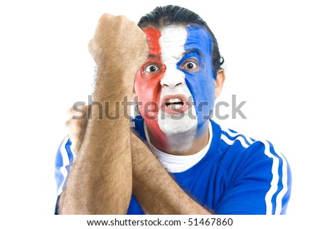 Stressed French Supporter on white background . - stock photo