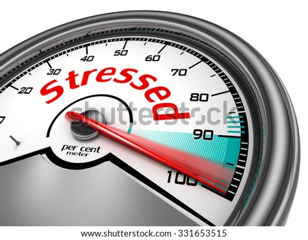 Stressed hundred per cent conceptual meter, isolated on white background - stock photo