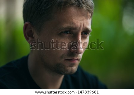 stressed man. emotion portrait - stock photo
