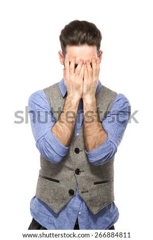 stressed man upset frustrated white background - stock photo