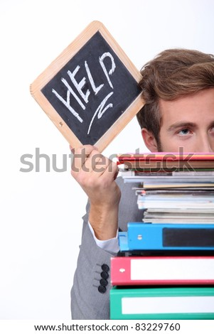 Stressed office worker - stock photo