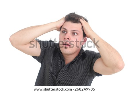 stressed out man - stock photo