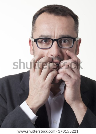 stressed out manager getting mixed up signals - stock photo