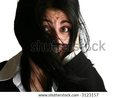 Stressed out middle eastern business woman. - stock photo