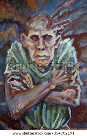 Stressed out old man - acrylic painting. - stock photo