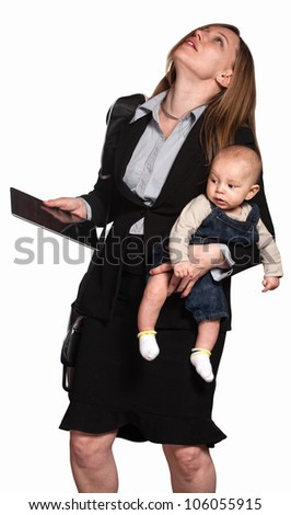 Stressed out professional woman with baby over white background