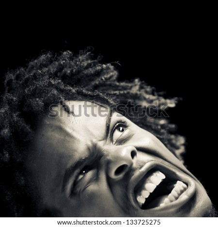 Stressed Out Young African American Man - stock photo