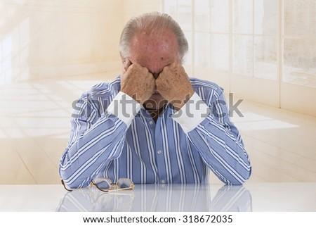 Stressed Senior  businessman.  - stock photo