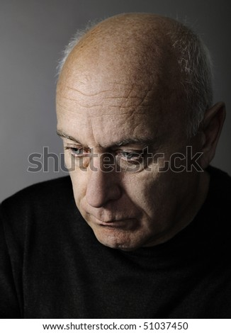 Stressed senior man - stock photo