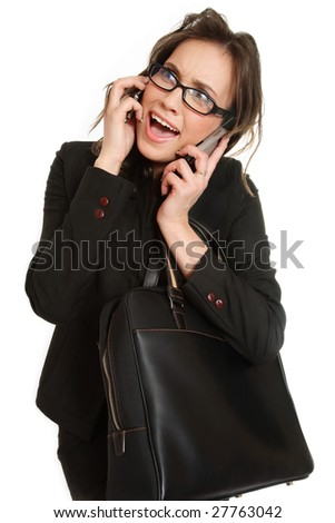 Stressed stylish businesswoman talking by two cellphones over white background