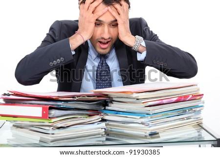 Stressed teacher - stock photo
