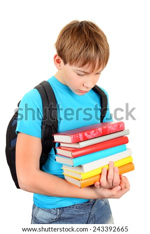 Stressed Teenager with a Books Isolated on the White Background - stock photo