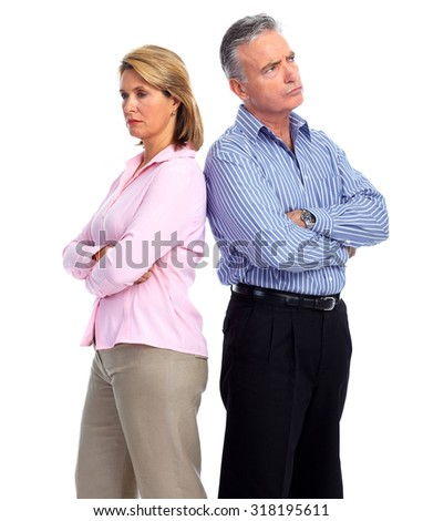 Stressed unhappy senior couple. Relationship and separation problem. - stock photo