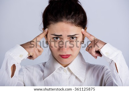 Stressed upset young business woman having problems.