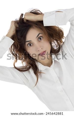Stressed woman - stock photo