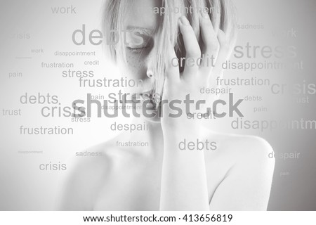 Stressed woman. Conceptual image,  portrait of  girl, many problems around, words about the head - stock photo