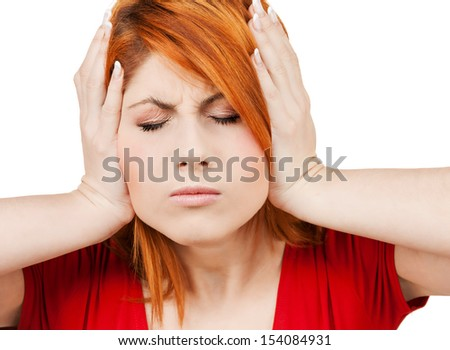 stressed woman holding her head with hand