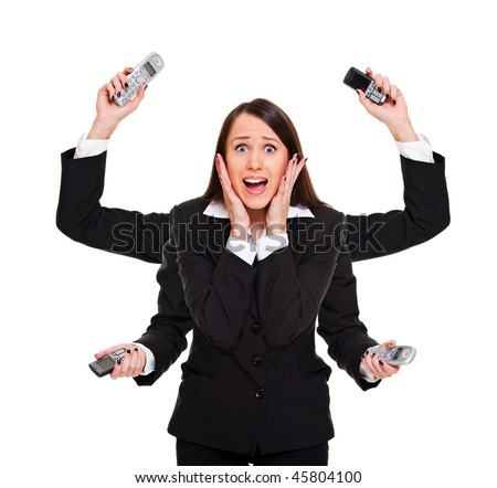 stressed woman with telephones in her hands. isolated on white - stock photo