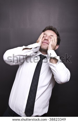 stressed young businessman I - stock photo