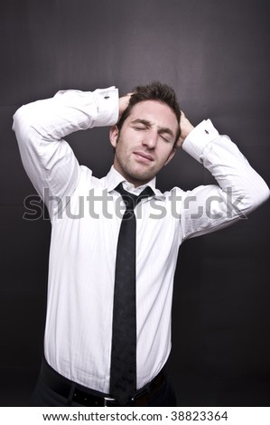 stressed young businessman VI - stock photo