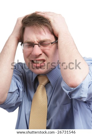 Stressed young businessman with headache on white - stock photo