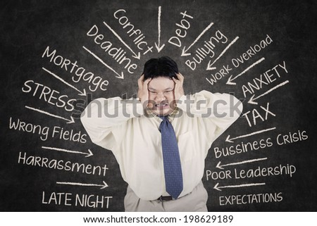 Stressful an obesity businessman having many problems - stock photo