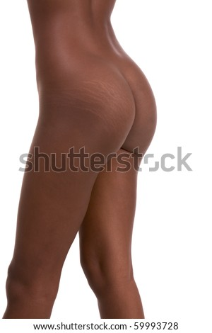 stretch marks on buttocks ass of Nude young African-American female model (side view)