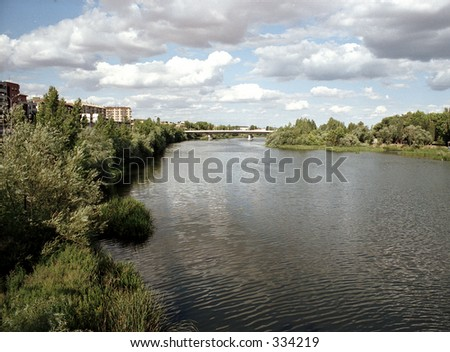 stretch of river - stock photo