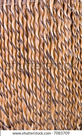 Stretched and twisted sinew detail on side of native American drum - stock photo