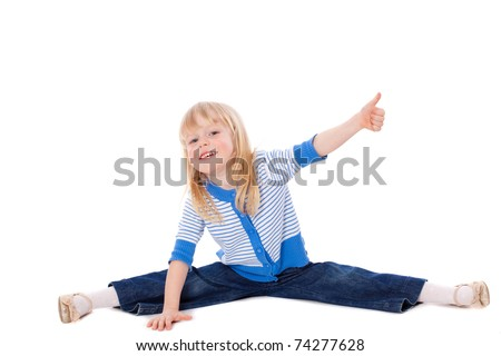 Stretching girl show ok sign looking at camera - stock photo