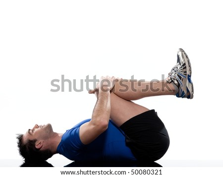stretching workout posture by a man or a woman on studio white background - stock photo
