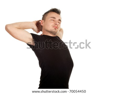stretching young man in black casual shirt