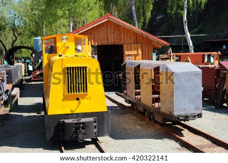 STRIBRO, CZECH REPUBLIC - MAY 7, 2016: Mining wagons in outdoor mining museum exposition of mining equipment in Stribro (Silver), Czech republic, European union. - stock photo