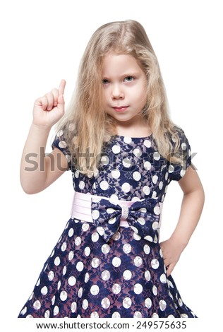 Strict beautiful little girl with blond hair isolated over white background - stock photo