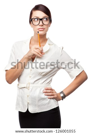 Strict business woman, isolated on white background - stock photo