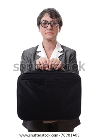 strict businesswoman with glasses holding briefcase isolated on white background - stock photo