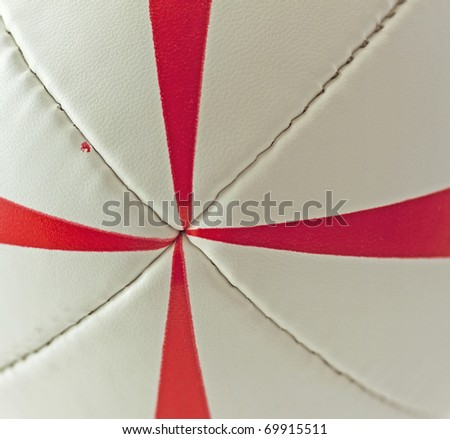 Strict closeup of center of a rugby ball - stock photo