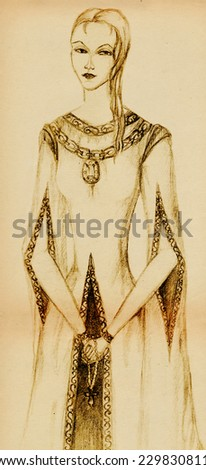 Strict woman in vintage dress with rosary in hand. Pencil drawing. - stock photo